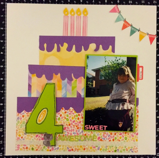CTMH Single Page layout with cake made from Kaleidoscope papers