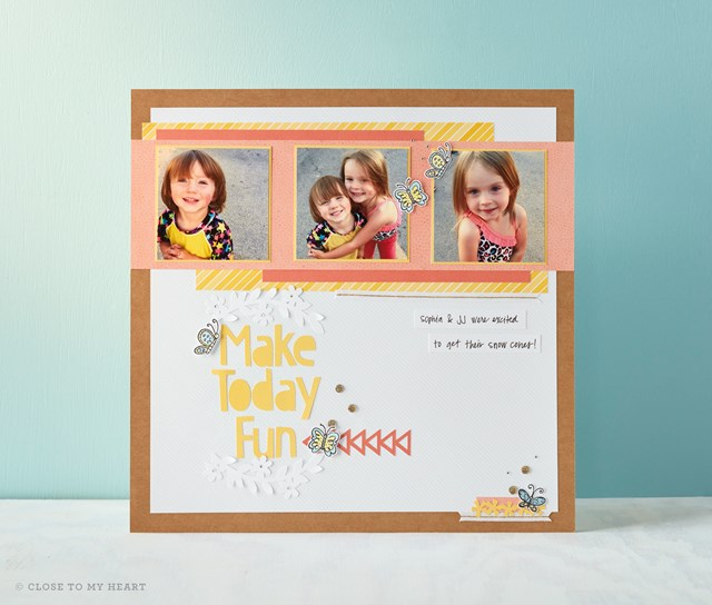 Make today Fun: Single Page Scrapbook layout using the March stamp of the Month Sun shine Birdies.