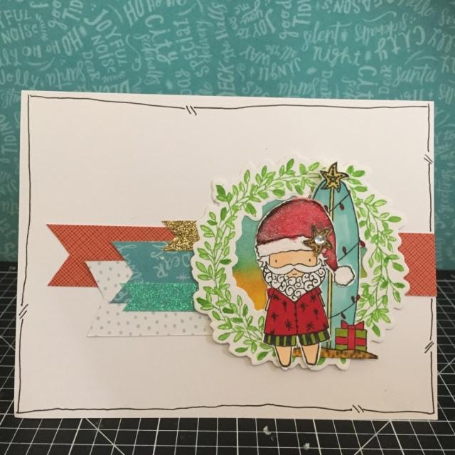 Surfin Santa Wreath Chrismas Card with Close To My Heart City Sidewalks Paper Packet (X7213B), Wreath & Wreath Thin Cut. www.maz.closetomyheart.com.au