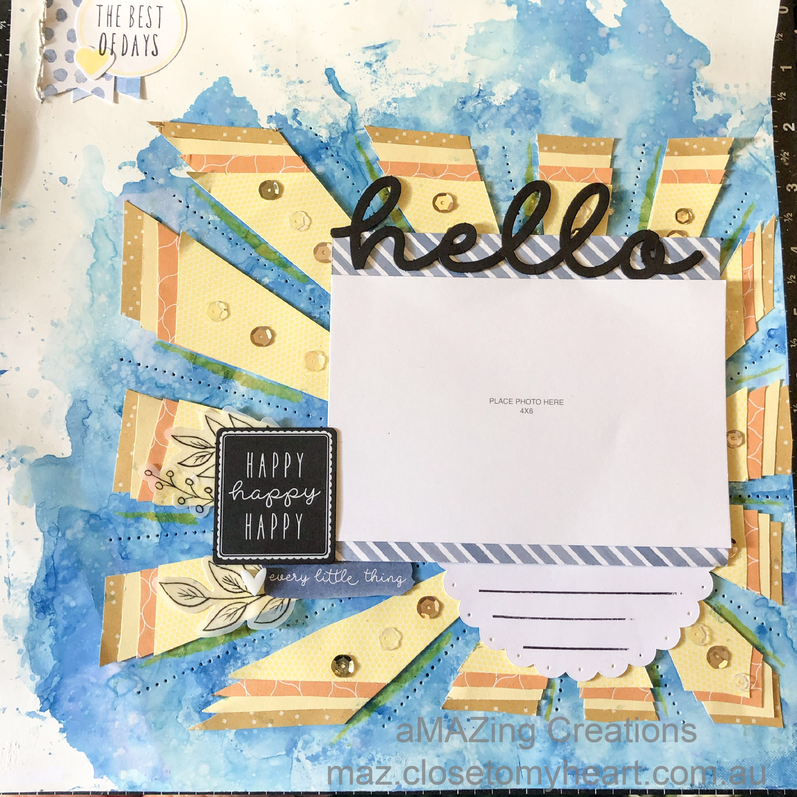 Hello Happy Scrapbook Layout using the Sun Overlay #M3F370 Close To My Heart - Artbooking #ctmh